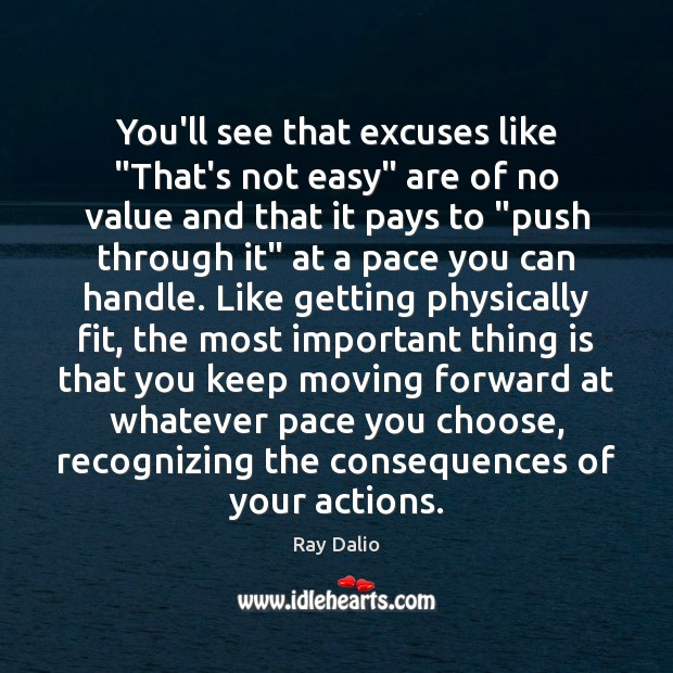 """You'll see that excuses like """"That's not easy"""" are of no value Ray Dalio Picture Quote"""