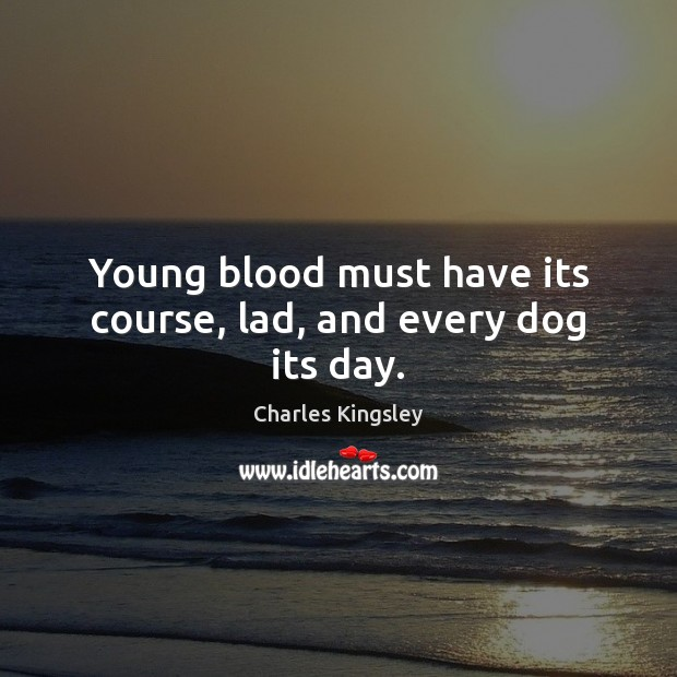 Young blood must have its course, lad, and every dog its day. Charles Kingsley Picture Quote