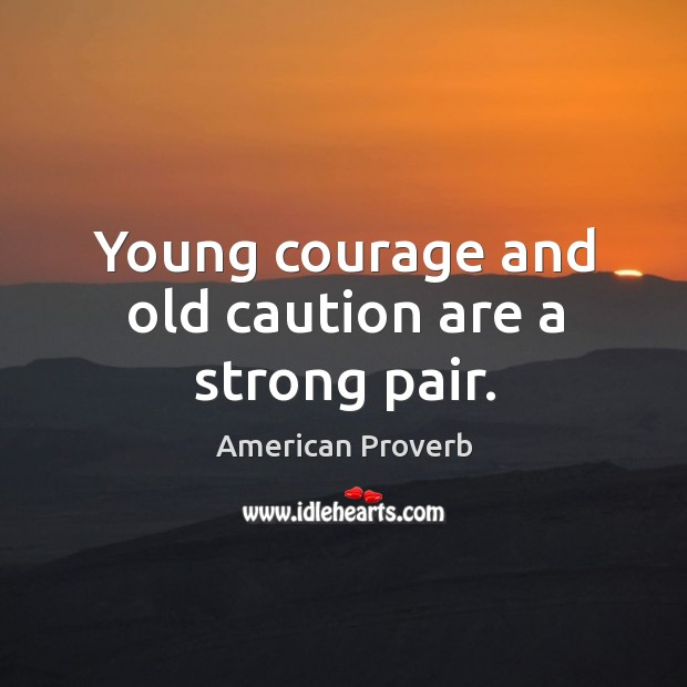Young courage and old caution are a strong pair. Image
