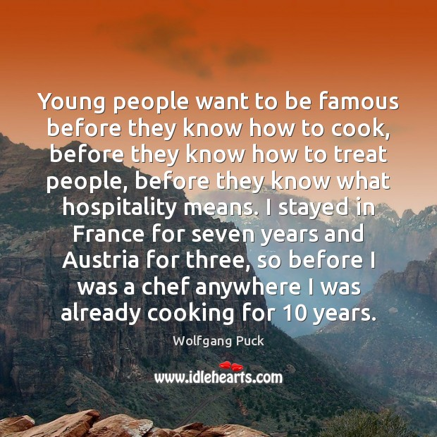 Young people want to be famous before they know how to cook, Image