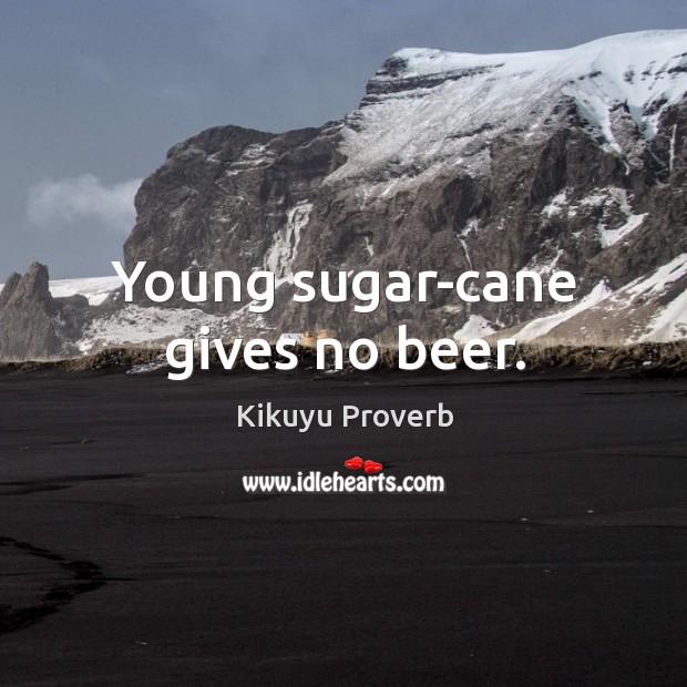 Young sugar-cane gives no beer. Kikuyu Proverbs Image