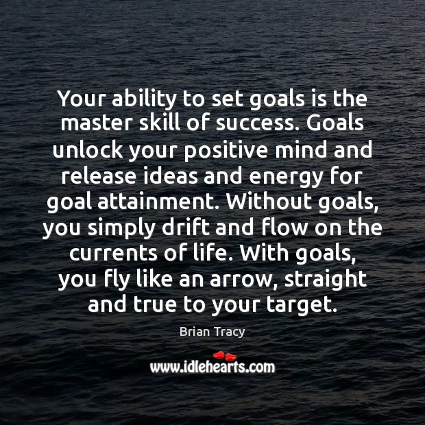 Image, Your ability to set goals is the master skill of success. Goals