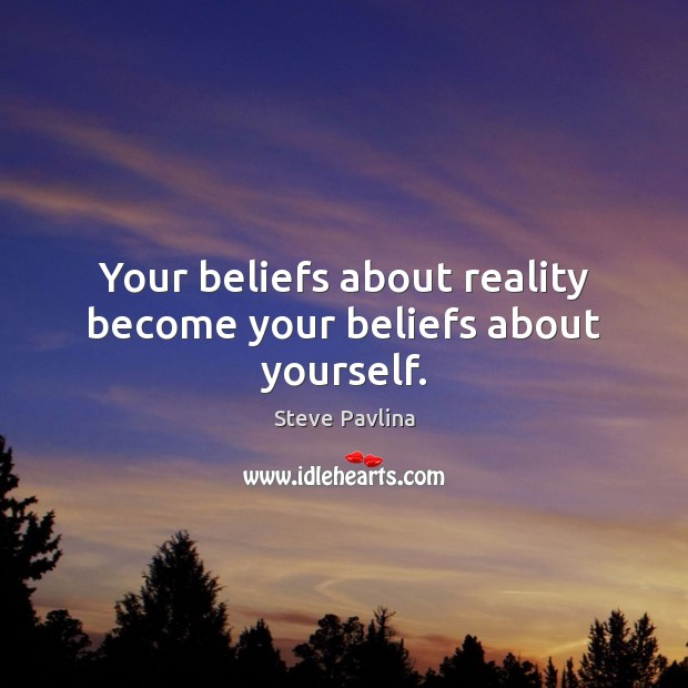 Your beliefs about reality become your beliefs about yourself. Image