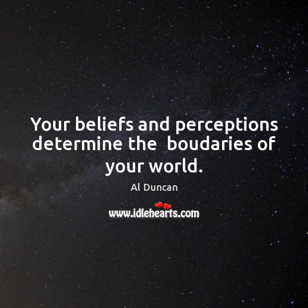 Image, Your beliefs and perceptions determine the  boudaries of your world.