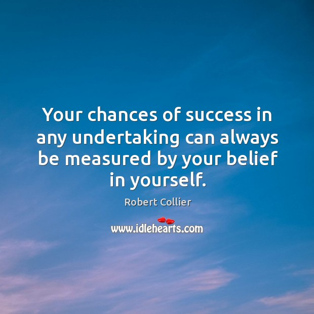 Your chances of success in any undertaking can always be measured by your belief in yourself. Robert Collier Picture Quote