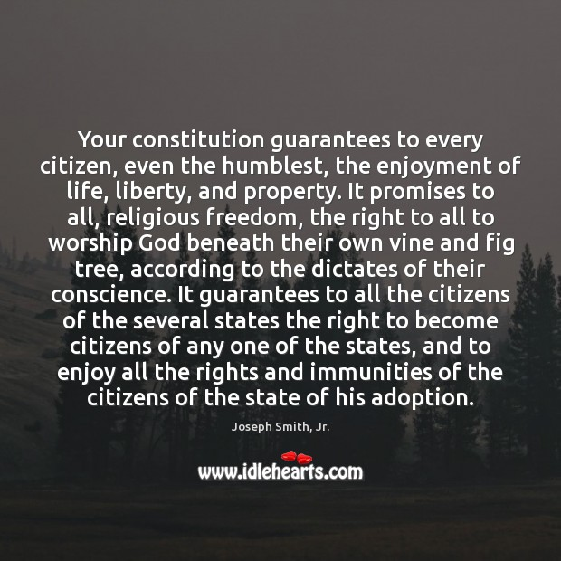 Your constitution guarantees to every citizen, even the humblest, the enjoyment of Image