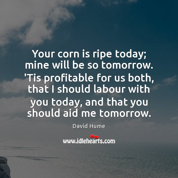 Your corn is ripe today; mine will be so tomorrow. 'Tis profitable David Hume Picture Quote
