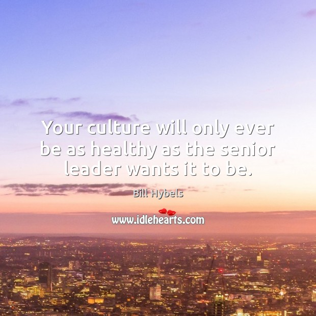 Your culture will only ever be as healthy as the senior leader wants it to be. Bill Hybels Picture Quote