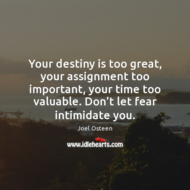 Your destiny is too great, your assignment too important, your time too Joel Osteen Picture Quote