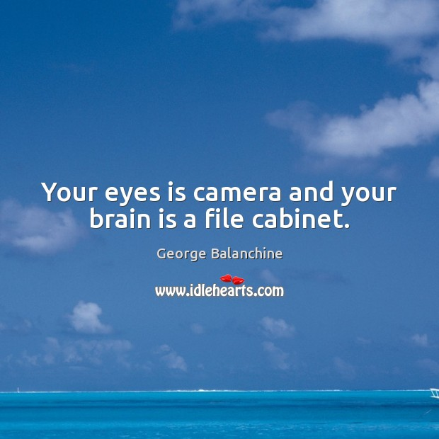 Your eyes is camera and your brain is a file cabinet. Image