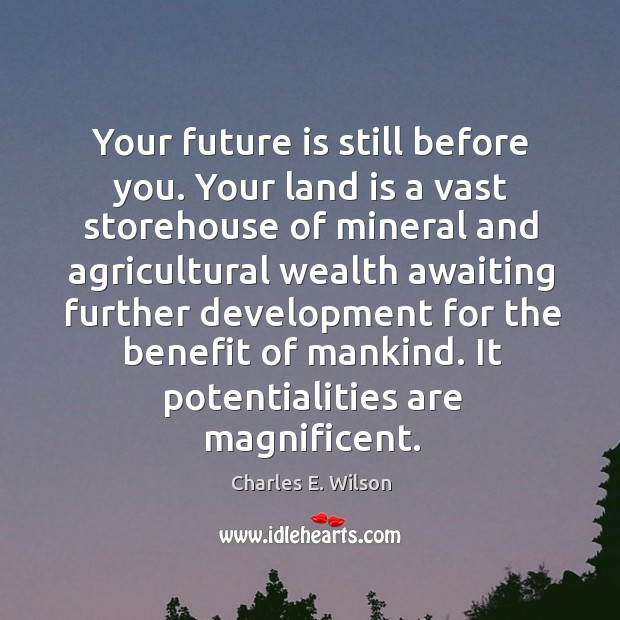 Your future is still before you. Your land is a vast storehouse of mineral Image