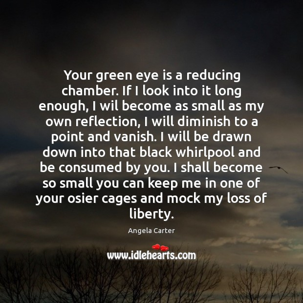 Image, Your green eye is a reducing chamber. If I look into it
