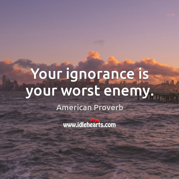 Your ignorance is your worst enemy. Image