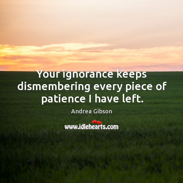 Your ignorance keeps dismembering every piece of patience I have left. Image