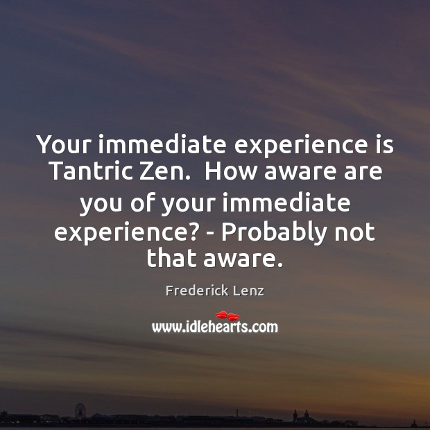 Your immediate experience is Tantric Zen.  How aware are you of your Experience Quotes Image