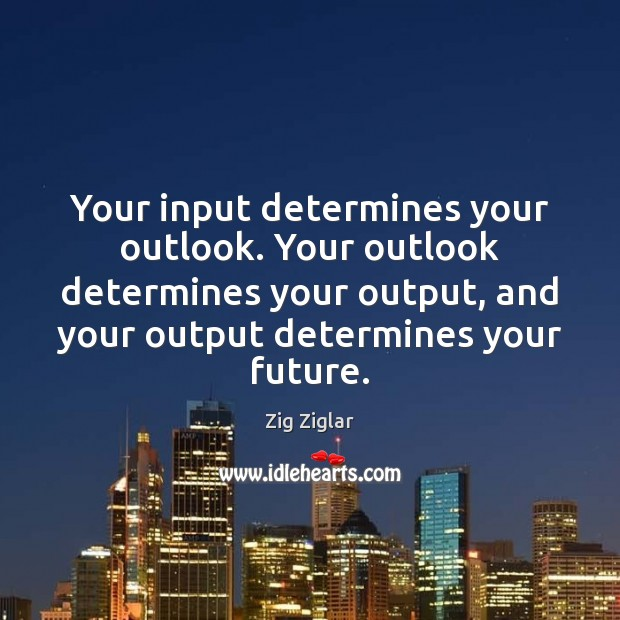 Your input determines your outlook. Your outlook determines your output, and your Zig Ziglar Picture Quote