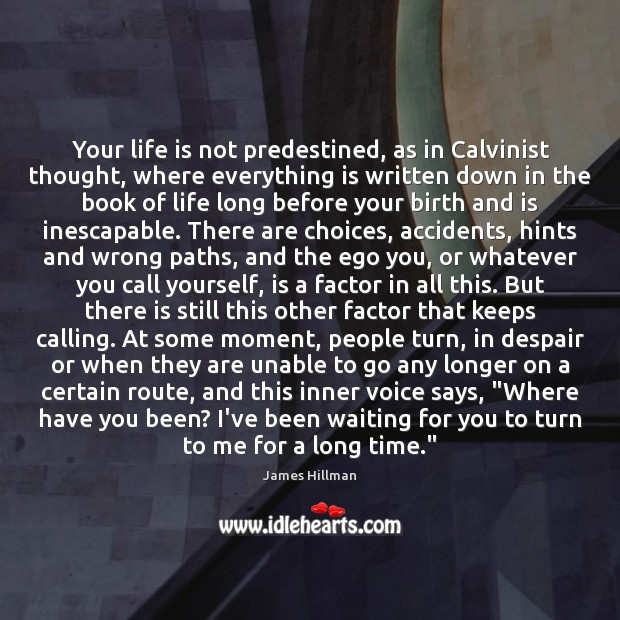 Your life is not predestined, as in Calvinist thought, where everything is James Hillman Picture Quote