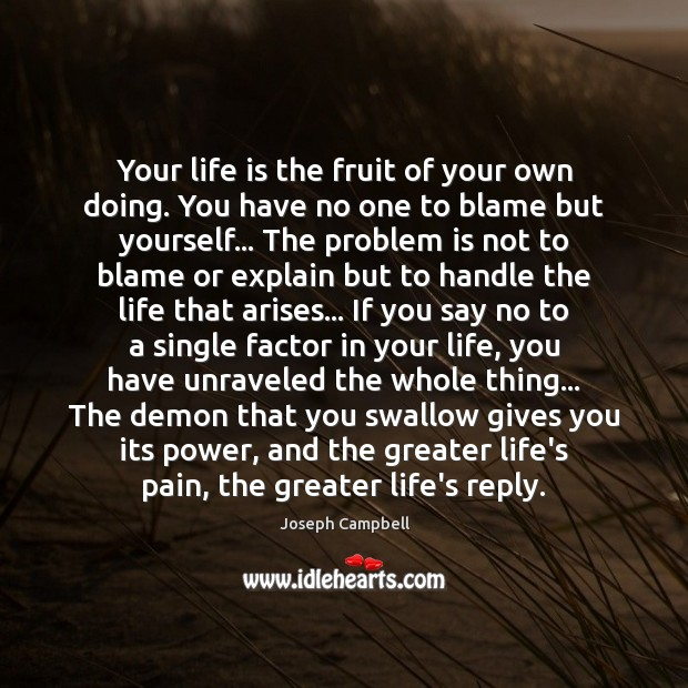 Your life is the fruit of your own doing. You have no Image