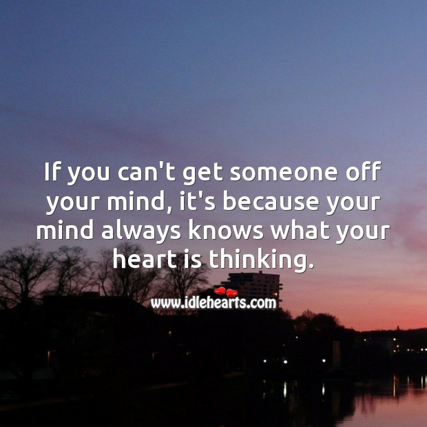 Your mind always knows what your heart is thinking. Falling in Love Quotes Image