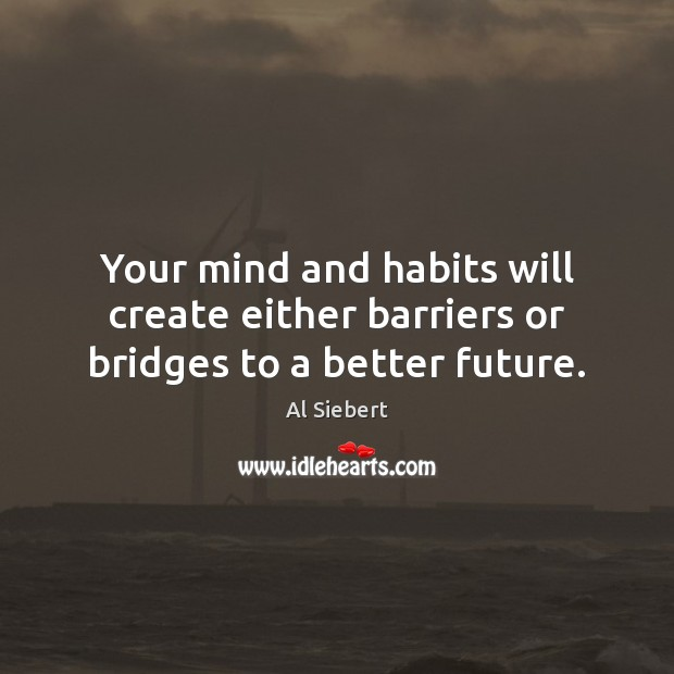 Image, Your mind and habits will create either barriers or bridges to a better future.