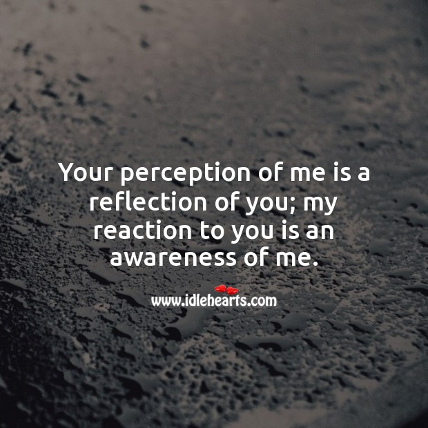 Your perception of me is a reflection of you; my reaction to you is an awareness of me. Spiritual Love Quotes