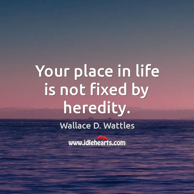 Your place in life is not fixed by heredity. Image