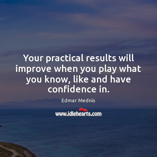 Your practical results will improve when you play what you know, like Image