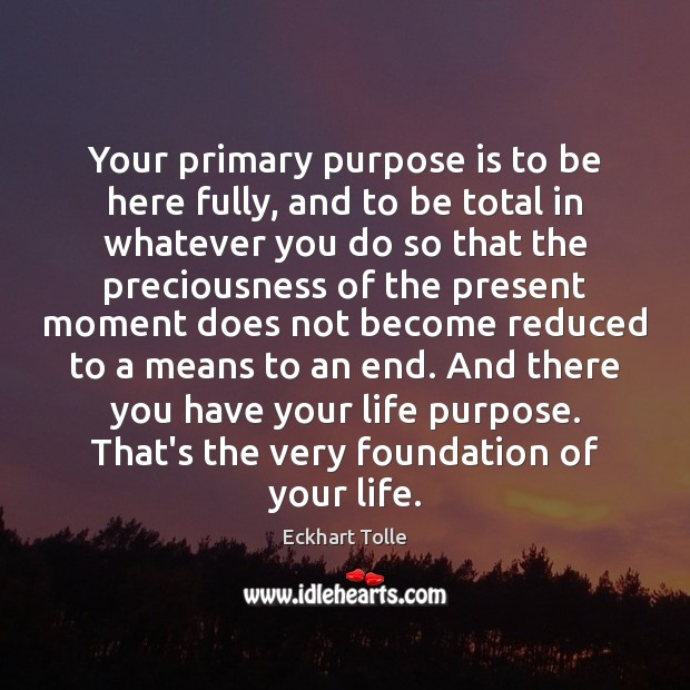 Image, Your primary purpose is to be here fully, and to be total