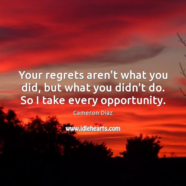 Your regrets aren't what you did, but what you didn't do. So I take every opportunity. Image