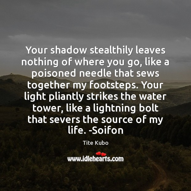 Image, Your shadow stealthily leaves nothing of where you go, like a poisoned