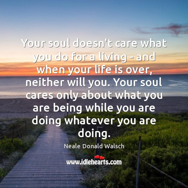 Your soul doesn't care what you do for a living – and Neale Donald Walsch Picture Quote