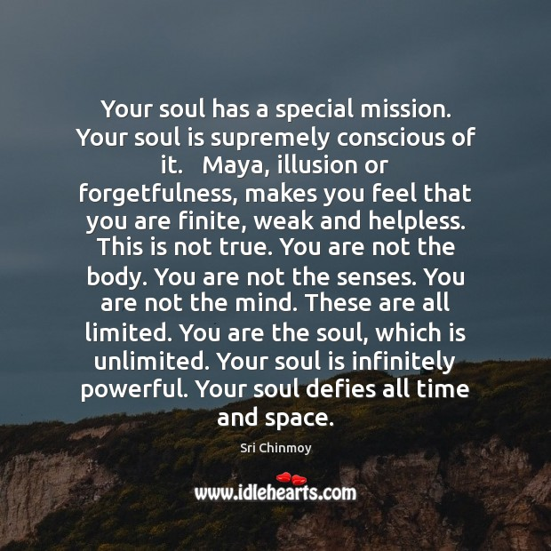 Your soul has a special mission. Your soul is supremely conscious of Sri Chinmoy Picture Quote