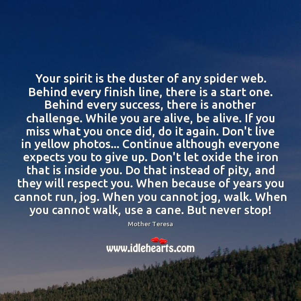 Image, Your spirit is the duster of any spider web. Behind every finish