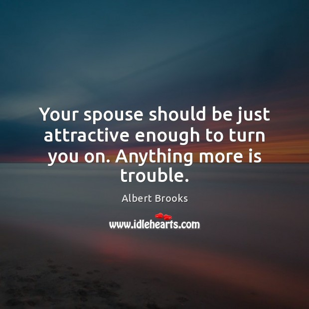 Your spouse should be just attractive enough to turn you on. Anything more is trouble. Image