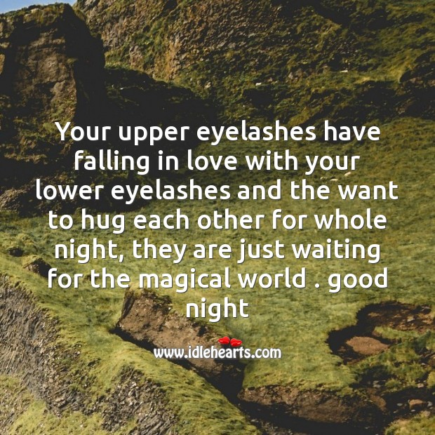 Your upper eyelashes have falling in love Hug Quotes Image
