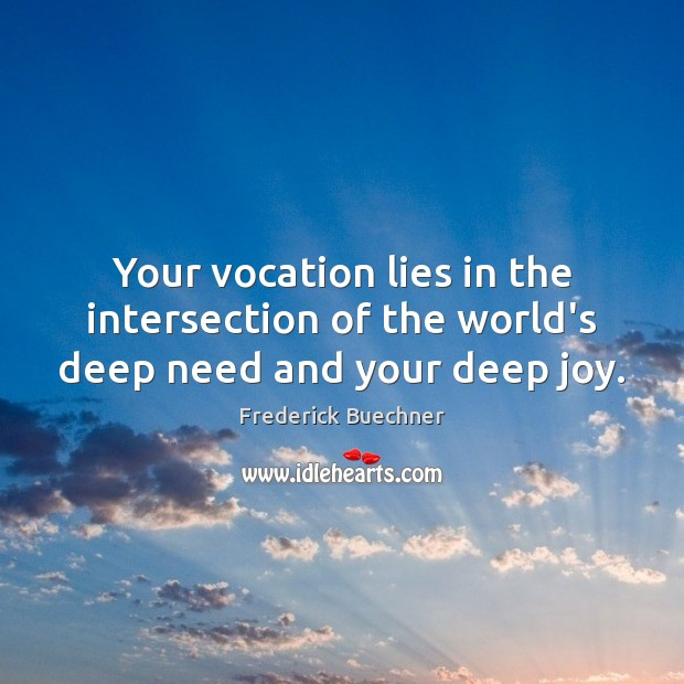 Your vocation lies in the intersection of the world's deep need and your deep joy. Frederick Buechner Picture Quote