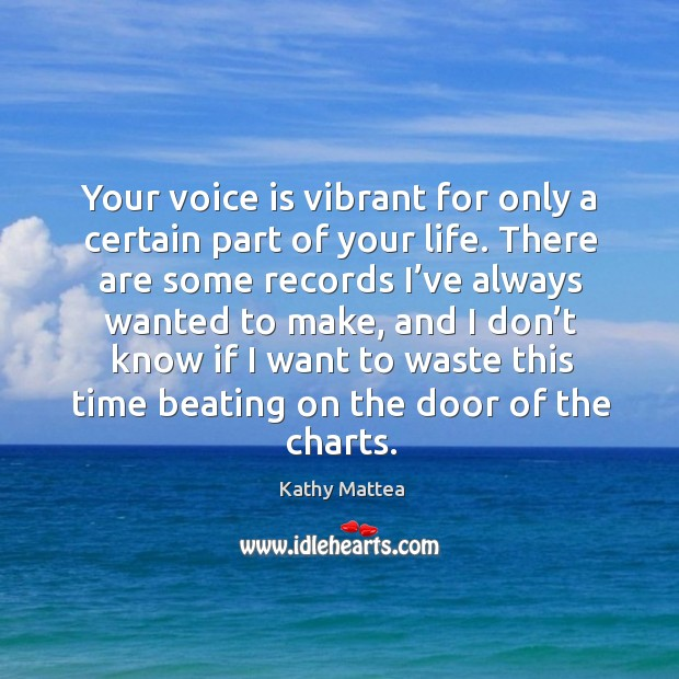 Your voice is vibrant for only a certain part of your life. Kathy Mattea Picture Quote