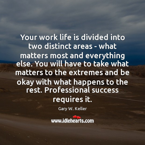 Your work life is divided into two distinct areas – what matters Image