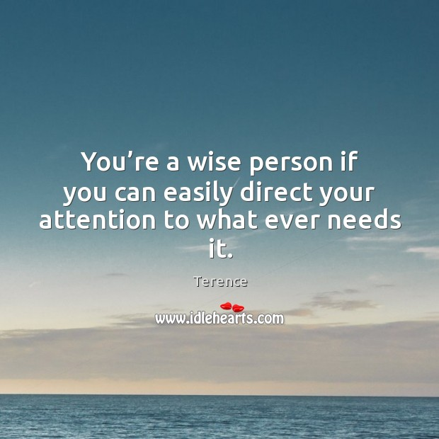 You're a wise person if you can easily direct your attention to what ever needs it. Terence Picture Quote