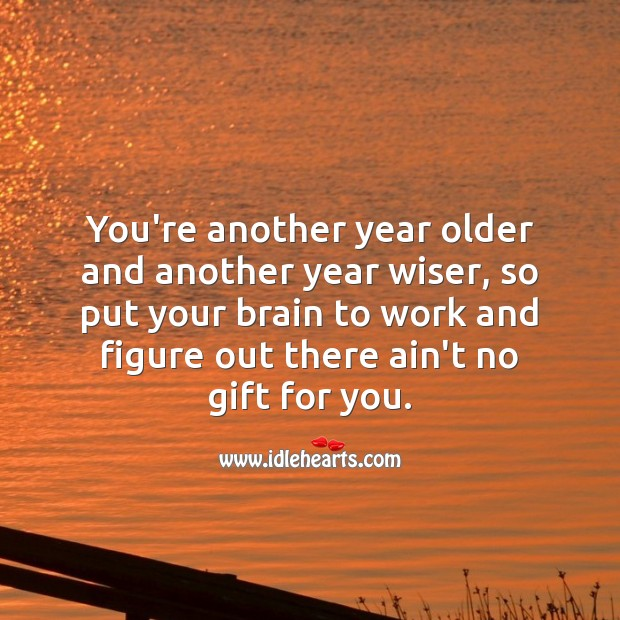 You're another year older and another year wiser. Gift Quotes Image
