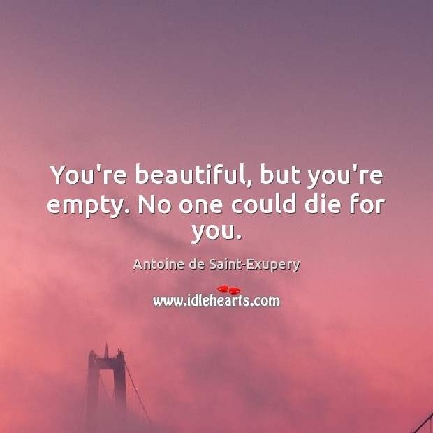 You're beautiful, but you're empty. No one could die for you. You're Beautiful Quotes Image