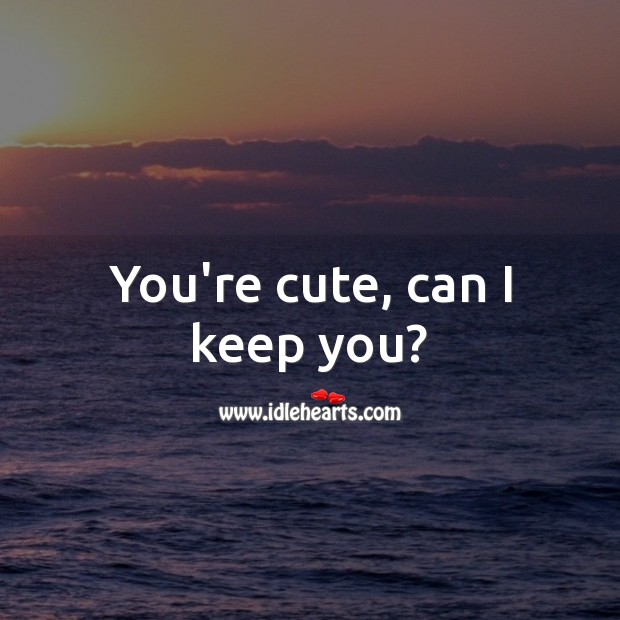 You're cute, can I keep you? Beautiful Love Quotes Image
