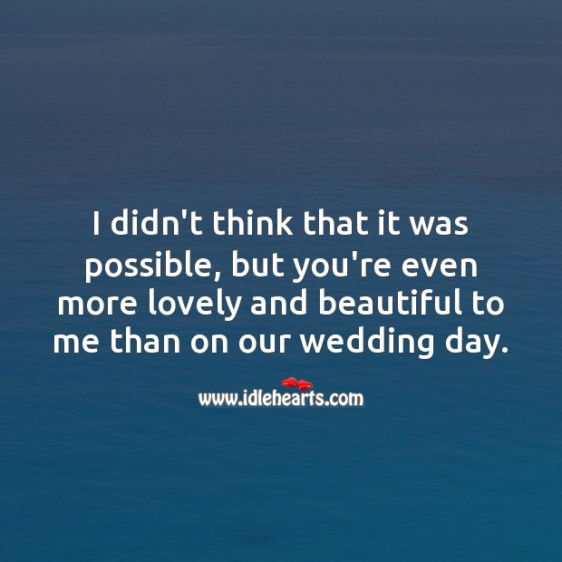 You're even more lovely and beautiful to me than on our wedding day. Wedding Anniversary Messages for Wife Image