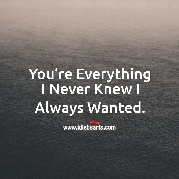 You're everything I never knew I always wanted. Image