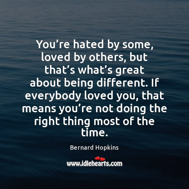 You're hated by some, loved by others, but that's what' Image
