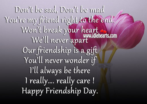 You're my friend right to the end. Gift Quotes Image