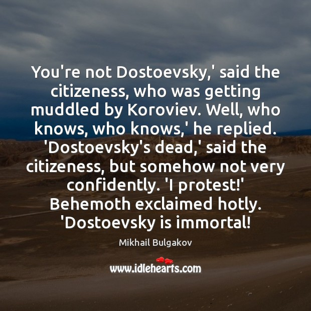 Image, You're not Dostoevsky,' said the citizeness, who was getting muddled by