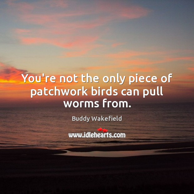 You're not the only piece of patchwork birds can pull worms from. Buddy Wakefield Picture Quote