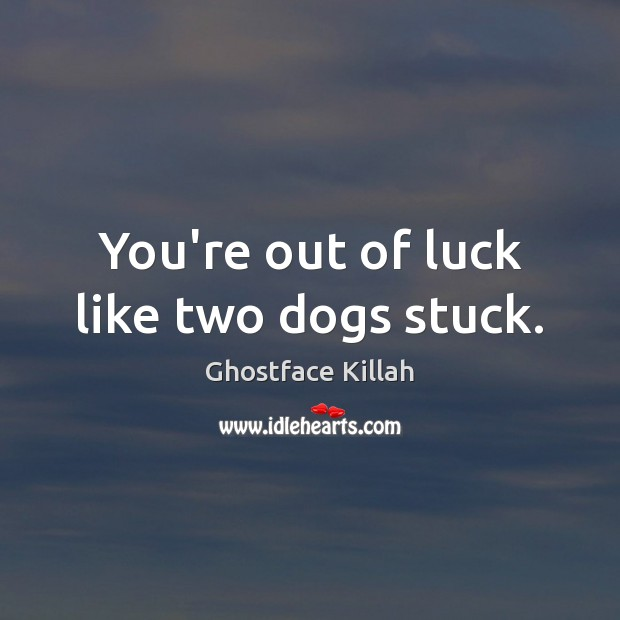 You're out of luck like two dogs stuck. Ghostface Killah Picture Quote