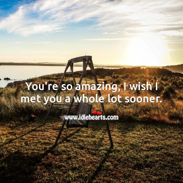 You're so amazing, I wish I met you a whole lot sooner. Romantic Messages Image